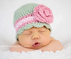 Crochet Hat Pattern Baby Girl Crochet Hat Flapper Beanie with Rose Flower PDF 100 Newborn to Adult idea***
