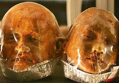 Gruesome body parts greet customers of a bakery in Ratchaburi, Thailand. Artist and baker Kittiwat Unarrom has sculpted life-like heads, feet and hands from dough in the bakery's kitchen and exhibits them in glass cabinets in the shop. He says his edible art lures one hundred visitors a day.
