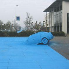 Henk Hofstra's blue road in Drachten (Holland)