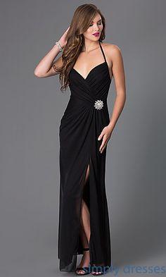 Floor Length Ruched Halter Dress