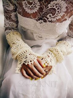 Lacey Crochet Wedding Cuffs with Pearls #crochet