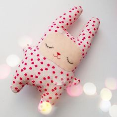 "GlobeIn: #Handmade Fabric Toy ""Sleeping #Bunny "" - Blue, Green, Pink"
