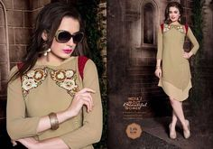 Royal Georgette Light Yellow Kurti With Embroidery Work