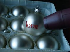 Homemade ornaments - great idea to use embossing powder on an ornament and set with a heat gun.