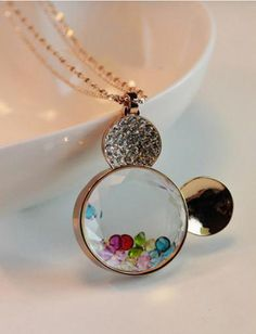 Rhinestone Mickey Mouse necklace