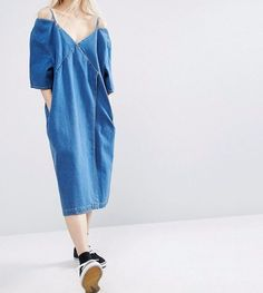 cbb6af316bc61 Details about BRANDED Denim Wrap Off Shoulder Casual Oversize Dress in Blue  UK 18 EU 46 US 14