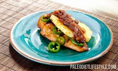 Grilled chicken with pineapple with onion relish