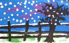 Dry Brush Winter Painting. Art Projects for Kids. #landscape #artprojectsforkids