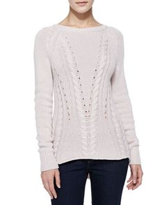 High-Low Mixed-Knit Cashmere Sweater by Autumn Cashmere at Bergdorf Goodman.