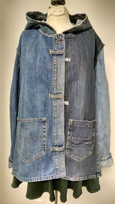 Great hooded jacket made from lower parts of 4 pair of recycled denim jeans. Ill use the rest somewhere else. Each jacket is unique but I will make