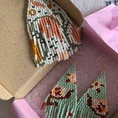 Bohemian Wedding Earrings/Beaded Fringe earrings/Snow white | Etsy Funky Earrings, Fringe Earrings, Bead Earrings, Flower Earrings, Statement Earrings, Bead Jewelry, Bohemian Wedding Gifts, Christmas Gifts For Women, Wedding Matches