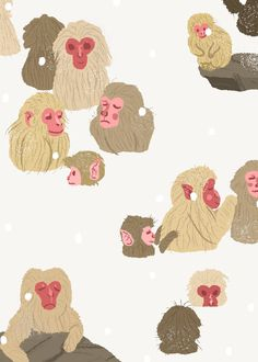 Japanese macaque, also known as snow monkeys, hang out in hot springs to keep warm. Art And Illustration, Illustrations, Graphic Design Illustration, Monkey Drawing, Monkey Art, Japanese Monkey, Japanese Macaque, Snow Monkeys, My Drawings