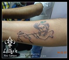 """Krishna tattoo with peacock feather flute stroke design shady edges """"lines and shades"""" Indian ink customer wanted her daughter's name sia to get inked so came with this design done by artist Deepak Vetal at Ghatkopar Branch God Tattoos, Music Tattoos, Wrist Tattoos, Music Tattoo Designs, Tattoo Sleeve Designs, Trendy Tattoos, Unique Tattoos, Couple Tattoos, Tattoos For Guys"""