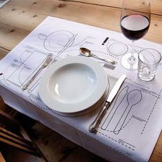 Cheat Sheet Placemat by Donkey Products Could be reproduced to teach table settings to small (and not so small) children.