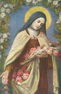 † Saint Theresa of the Child Jesus Maria Moretti Sainte Therese De Lisieux, Ste Therese, Catholic Art, Catholic Saints, Roman Catholic, Religious Images, Religious Art, Verge, Christian Paintings