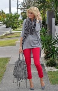 Cute outfit with red jeans, but ditch the fringed bag