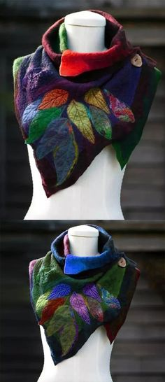 Women's Casual Multicolor Stripes Round Neck Scarves & Shawls Scarf Shibori, Diy Scarf, Felt Applique, Neck Scarves, Neck Warmer, Refashion, Sewing Hacks, Wearable Art, Textiles