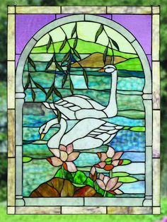 Swans Stained Glass Windowhttp://www.cottageandbungalow.com/seaside.html#top