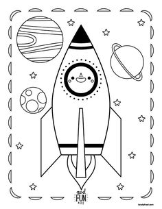 Blast Off Into Space With Our Nod Printable Coloring Page Featuring A Rocket Ship And Planets