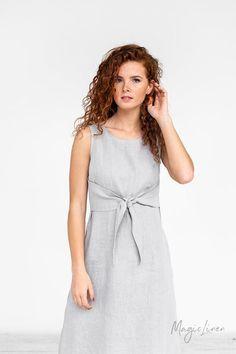 Tie-front linen dress EDEN. Fit and flare linen summer dress.   Etsy Casual Work Dresses, Dresses For Work, Summer Dresses, Linen Shirt Dress, Linen Dresses, Fit And Flare, White Dress, Etsy, Clothes For Women