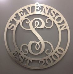 "Metal monogram door hanger- 20"" Custom Family Sign,Family Name Sign, Established monogram sign,Personalized sign, Metal Art"