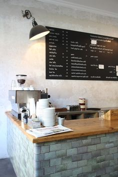 I wonder if I could put chalkboard on the front of the fridge and write the menu plan or fridge contents on it. Bakery Cafe, Cafe Restaurant, Restaurant Design, Cafe Bistro, Cafe Bar, Cafe Display, Berlin, Cafe Design, Layout Design