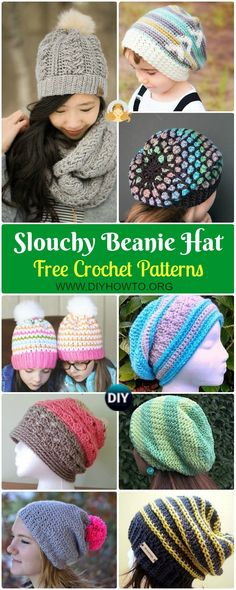 Crochet Slouchy Beanie Hat Free Patterns Tutorials – You'll find so many distinct fun things to crochet! Crochet Beanie Hat Free Pattern, Crochet Slouchy Beanie, Crochet Baby Bonnet, Crochet Baby Booties, Free Crochet, Crochet Hats, Irish Crochet, Sewing Patterns Free, Crochet Patterns