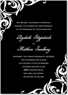 cheap black and white wedding invitations