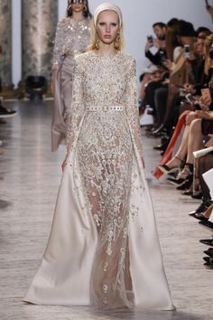 Elie Saab Spring 2017 Couture, wedding, bridal, evening, gown, dress, beaded, embellished, satin, silk, long sleeve, high neck, applique, belt