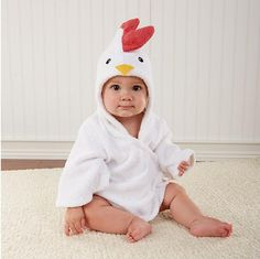 Baby fashion novelty  white chicken cartoon modelling cotton hooded towel bathrobe 0-12month  Free shipping #Affiliate
