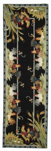 Rug in Black - Chelsea (2 ft. 6 in. x 8 ft. Runner) by Safavieh. $132.60. Made of Wool Rectangular:. Hand Hooked. American Country and turn-of-the-century European designs. Pictured in Rectangular shape. 2 ft. 6 in. x 8 ft. Runner. The warm colors of autumn are featured as part of this rooster patterned wool area rug, finished in black with sage, gold tone and burgundy accents. A charming addition to any decor, the rug is hand hooked for durability and is avail...