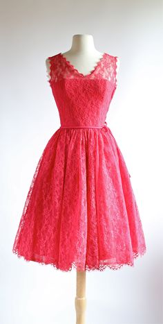 Stunning 1950's watermelon lace cocktail dress, available at Xtabay.