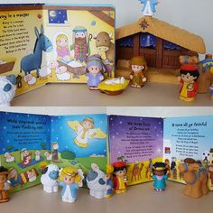 Tot School...Christmas Unit🎄 Nativity Play. My favorite nativity set for little hands is @fisherprice Little People set. We played along with the songs from The Usborne Very First Christmas Carols book.