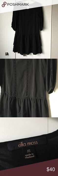 Black Ella moss dress Super cute drop waist dress. Has fun lace details and a ruffles skirt. Great for spring, summer or fall! Great condition! Ella Moss Dresses