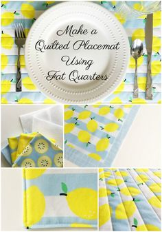 How to Make a Quilted Placemats using Fat Quarters - Simple Simon and Company Fat Quarters, Sewing Hacks, Sewing Tutorials, Sewing Tips, Sewing Patterns Free, Free Sewing, Quilted Placemat Patterns, Quilt Placemats, Fat Quarter Projects