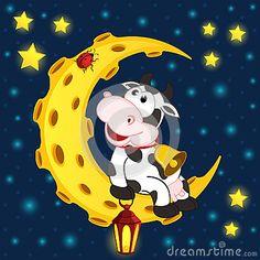 Cow and ladybug on moon