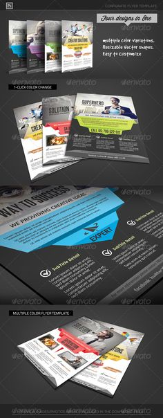 Origami Business Idea Flyer Template — Photoshop PSD #auto #template • Available here → https://graphicriver.net/item/origami-business-idea-flyer-template/6641645?ref=pxcr