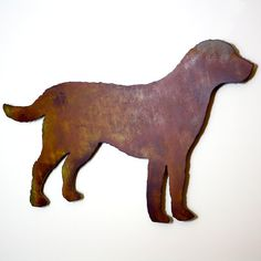 """Labrador Retriever metal wall art - 30"""" wide - dog silhouette painted rusted steel - wall hanging"""