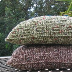 Chunky crochet cushion/pillow cover in 25% wool/75% acrylic yarn, in two beautiful warm shades - bulrush earthy brown with flashes of teal and green, and pampas green with flashes to teal and red. The chunky yarn is emphasised by the basketweave design, making an up-to-the minute accessory for either a modern or traditional setting. Almost impossible not to pick it up and cuddle it! The pattern includes all stitch instructions and uses half double crochet, double crochet, front pos...