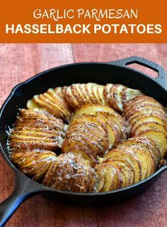 Hasselback Potatoes with Parmesan and Roasted Garlic Hasselback Potatoes with Parmesan and Roasted Garlic are your next favorite side dish! With meaty potatoes and loads of garlic and Parmesan flavor, they're sure to be a dinner hit! Cast Iron Skillet Cooking, Iron Skillet Recipes, Cast Iron Recipes, Skillet Meals, Skillet Chicken, Butter Chicken, Garlic Butter, Potato Side Dishes, Vegetable Side Dishes