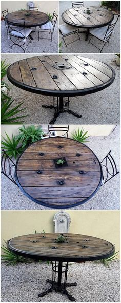 reclaimed pallet cable reel table