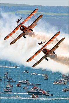 The Breitling Wingwalkers at the 2011 Bournemouth Air Festival. Photo credit: Richard Brewer