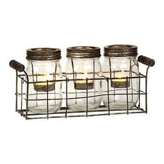 Mason Jar Tealight Candle Runner-cute..great for patio