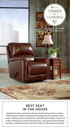 timber and tanning select solids and naturals lacotter rocker recliner leather and wood style furniture ashley furniture - Ashley Furniture Recliners