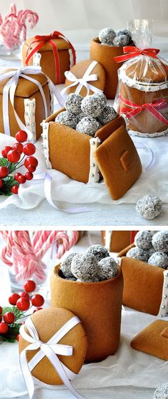 Great idea for homemade edible Tea party . Gingerbread Boxes and Mason Jars - completely edible gifts! The jars are made by wrapping dough around a can. No cookie cutters, mixers or any special equipment required. Edible Christmas Gifts, Edible Gifts, Christmas Sweets, Christmas Cooking, Noel Christmas, Christmas Goodies, Xmas, Christmas Crafts, Handmade Christmas