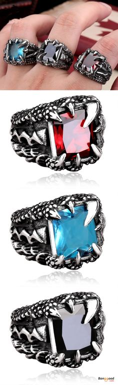 US$17.99 + Free shipping. Ring Size: 9 / 10 / 11 / 12. Main Color: Red, Black, Light Blue, Dark Blue. Fall in love with punk and cool style! Cool Punk Dragon Claw Zircon Ring Stainless Steel High Polished Ring Halloween Jewelry. #halloween #jewelry #ring