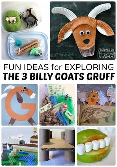 Fun Kids Activities for Exploring The 3 Billy Goats Gruff   Help kids bring the classic folk tale to life! Perfect for Preschool or Homeschool Learning.  at B-Inspired Mama Traditional Stories, Traditional Tales, Fairy Tale Activities, Book Activities, Fun Activities For Kids, Therapy Activities, Fairy Tale Crafts, Fairy Tale Theme, Preschool Literacy