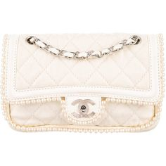 Pre-owned Chanel Pearl Double Flap Bag ($2,500) ❤ liked on Polyvore featuring bags, handbags, neutrals, handbag purse, zipper handbags, chanel purse, flap handbags and hand bags