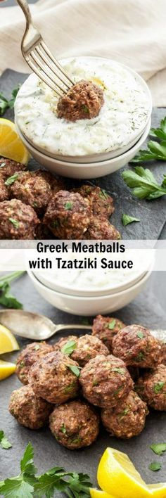 Greek Meatballs with Tzatziki Sauce | Meatballs loaded with spices, lemon zest and feta cheese! They're sure to please anyone who loves Greek flavors!                                                                                                                                                      More