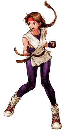 View an image titled 'Yuri Sakazaki (Art of Fighting) Art' in our Capcom vs. SNK art gallery featuring official character designs, concept art, and promo pictures. Female Character Design, Character Design References, Character Concept, Character Art, Capcom Vs Snk, Mode Cyberpunk, Snk King Of Fighters, Art Of Fighting, Fighting Games